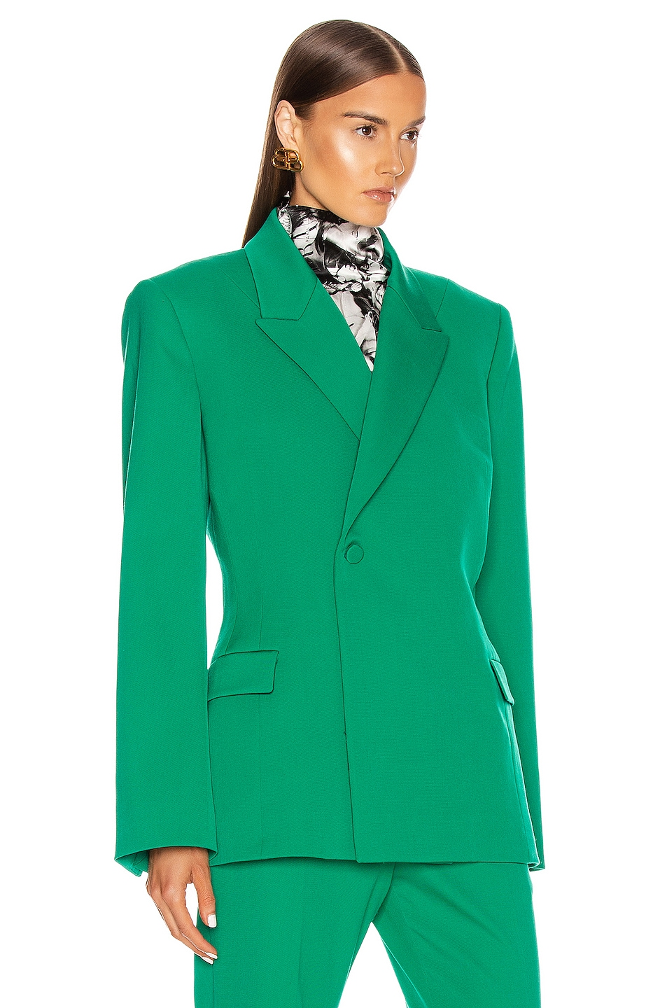 Image 2 of Balenciaga Waisted Jacket in Emerald Green