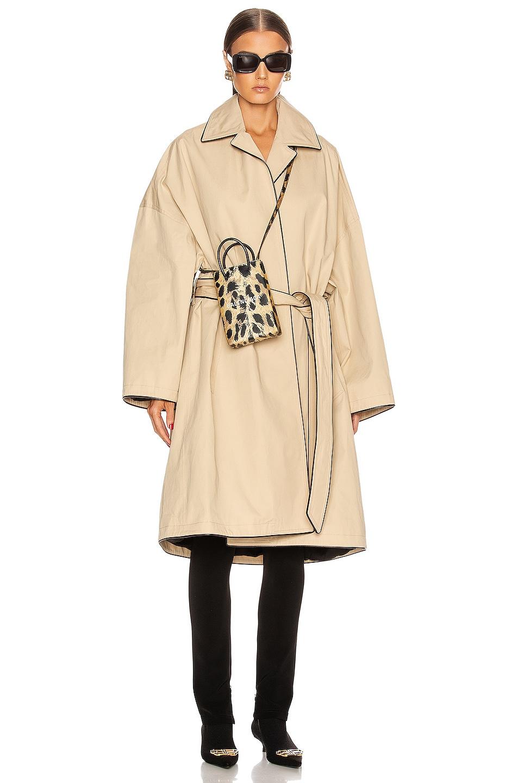 Image 1 of Balenciaga Short Cocoon Coat in Creme