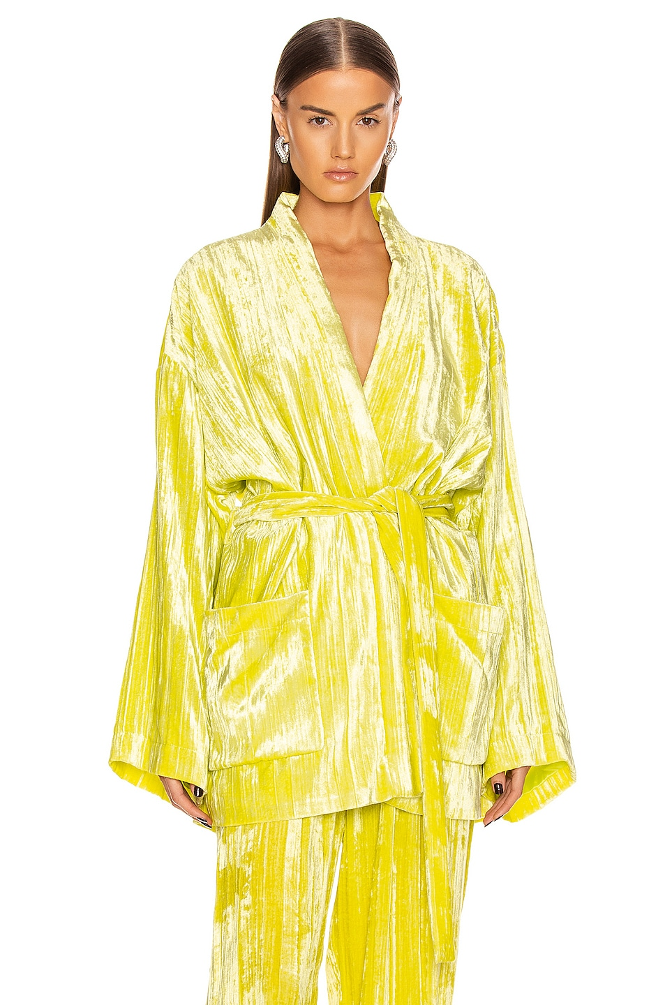 Image 1 of Balenciaga Pajama Jacket in Citrus Yellow