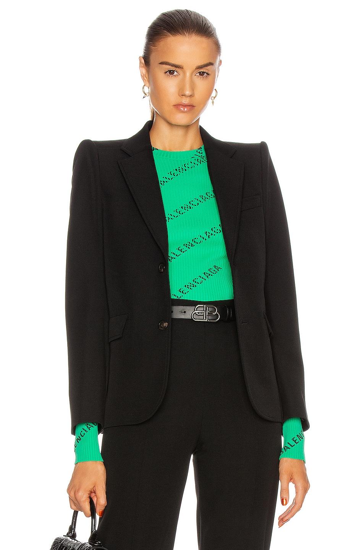 Image 1 of Balenciaga Curved Shoulder Jacket in Black