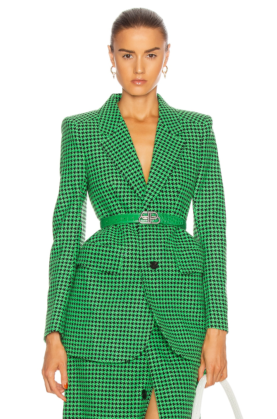 Image 1 of Balenciaga Hourglass Jacket in Apple Green & Black