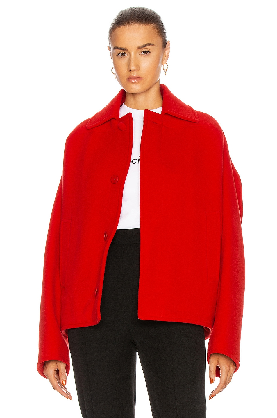 Image 1 of Balenciaga Upside Down Peacoat in Red