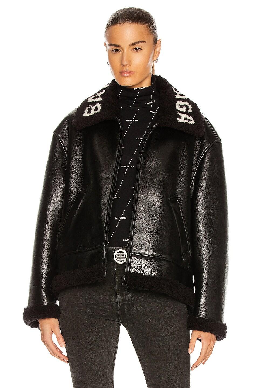 Image 1 of Balenciaga Cocoon Shearling Jacket in Black & Black