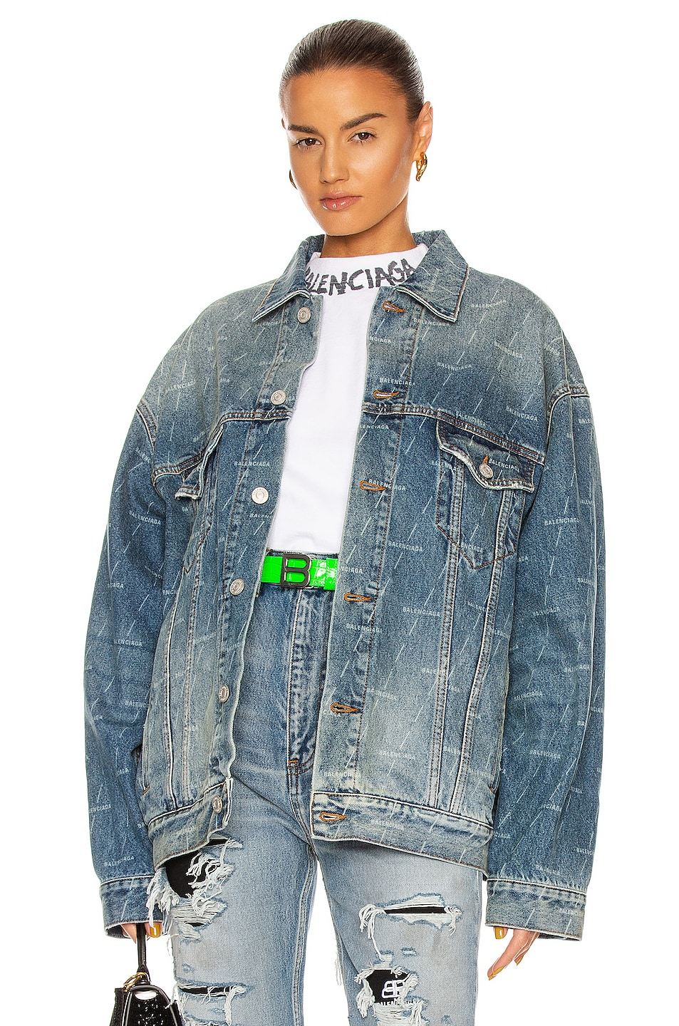 Image 1 of Balenciaga Large Fit Jacket in Authentic Dark Blue