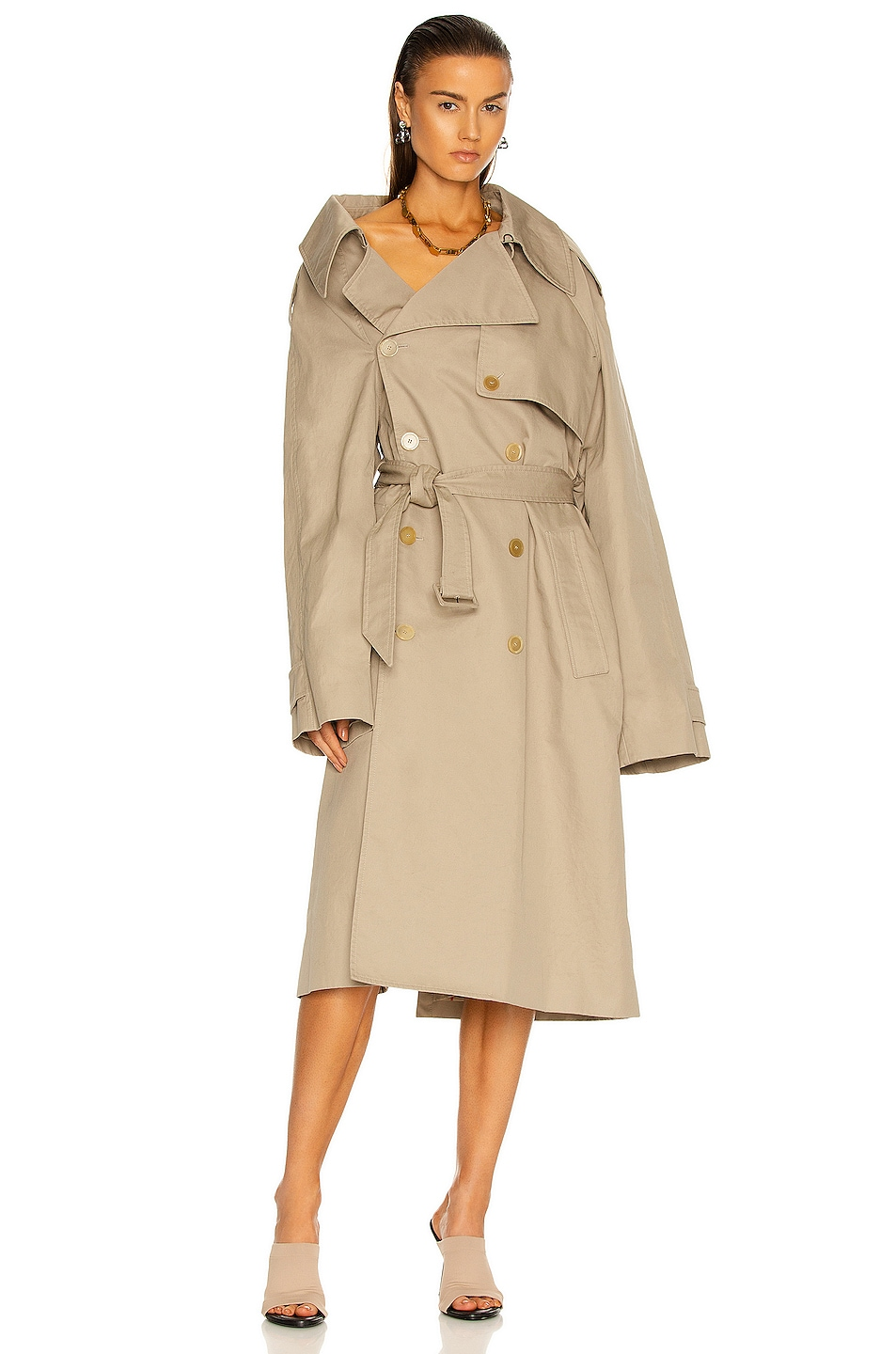 Image 1 of Balenciaga Off Shoulder Trench in Beige