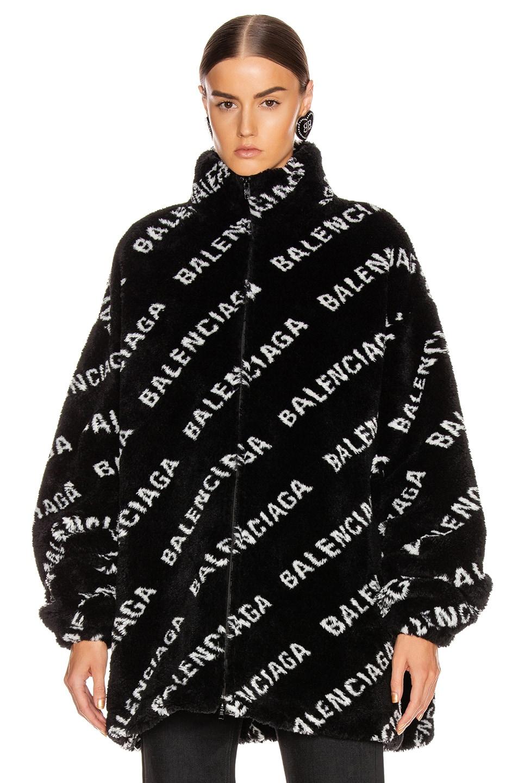 Image 2 of Balenciaga Fluffy Logo Zip Up Jacket in Black & White