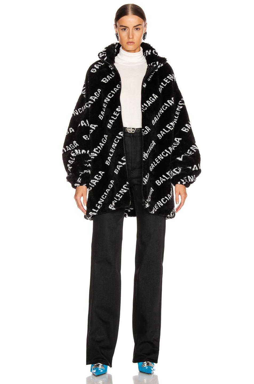 Image 5 of Balenciaga Fluffy Logo Zip Up Jacket in Black & White