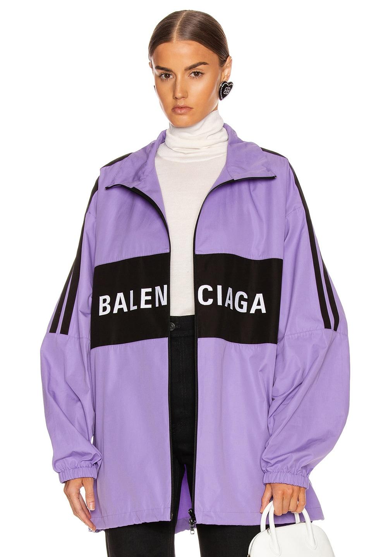 Image 1 of Balenciaga Zip Up Logo Jacket in Light Purple