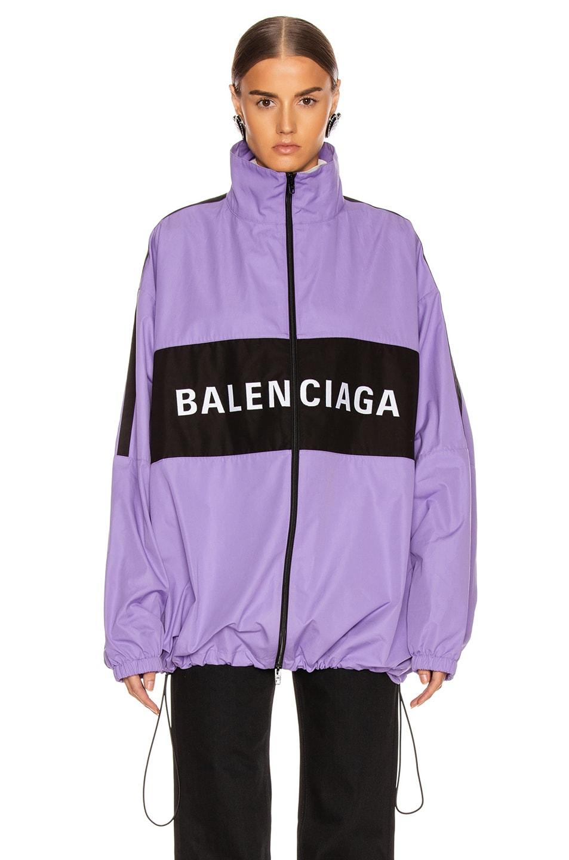 Image 3 of Balenciaga Zip Up Logo Jacket in Light Purple