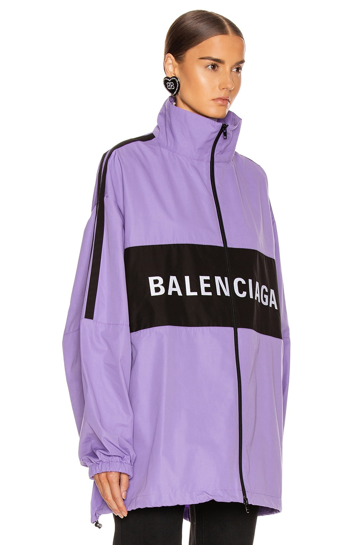 Image 4 of Balenciaga Zip Up Logo Jacket in Light Purple