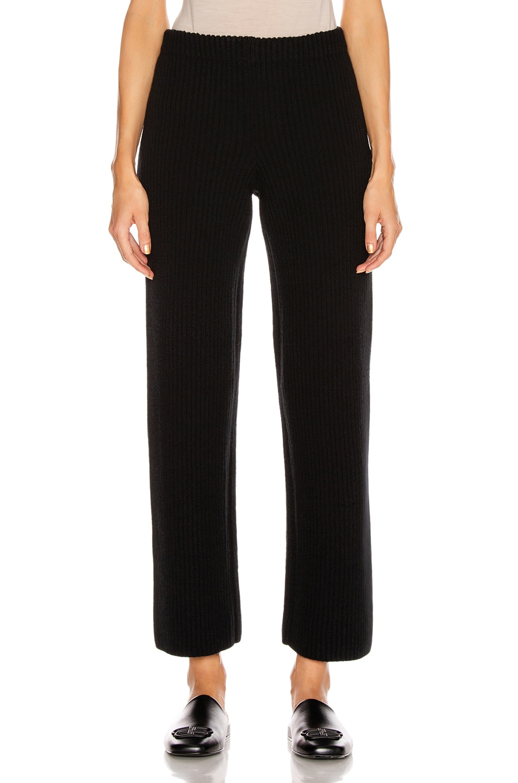 Image 1 of Balenciaga Rib Wide Leg Pant in Black