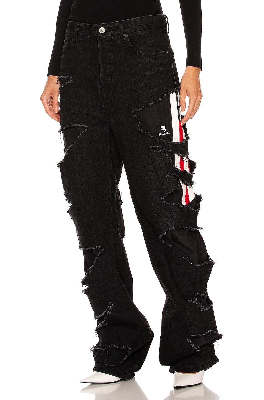 Image 1 of Balenciaga Slashed Loose Fit Pant in Washed Black