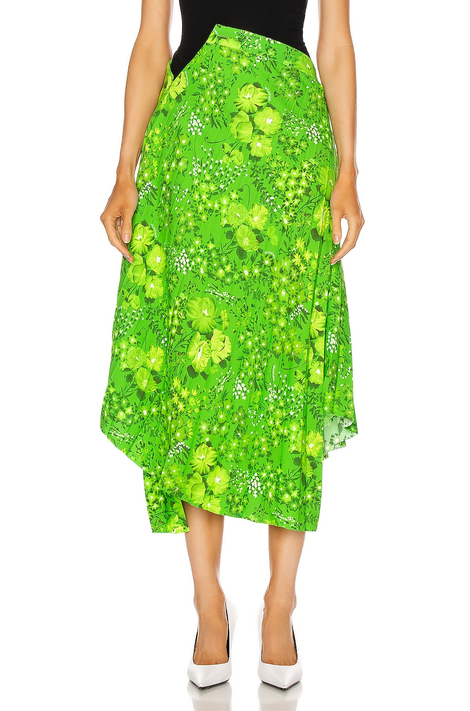 Image 1 of Balenciaga Twisted Pleat Skirt in Green