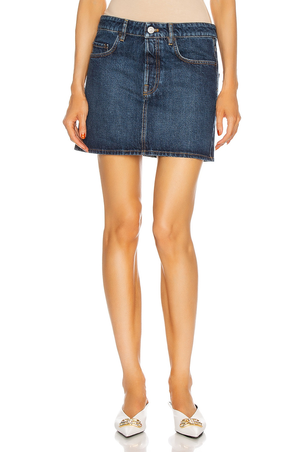 Image 1 of Balenciaga Low Waist Mini Skirt in Daddy Wash