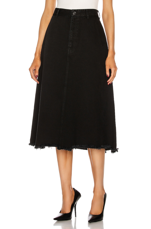 Image 1 of Balenciaga Front Kick Skirt in Pitch Black