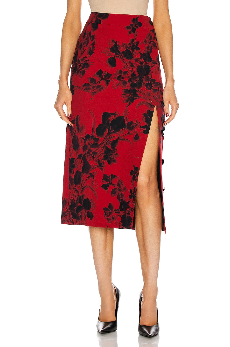 Image 1 of Balenciaga Buttoned Slit Skirt in Red