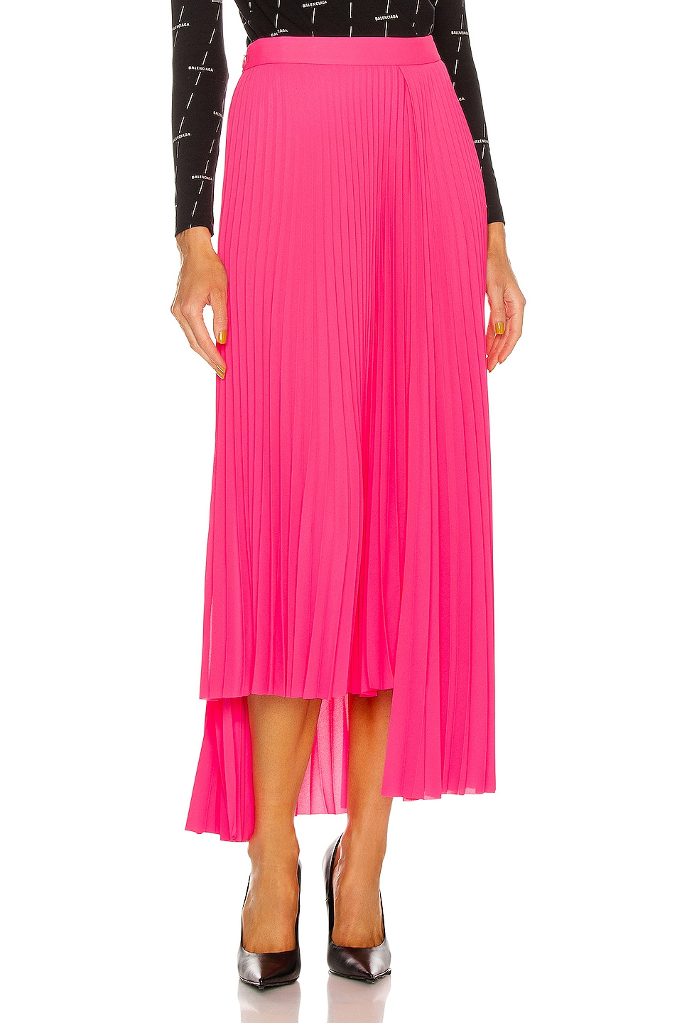 Image 1 of Balenciaga Pleated Skirt in Fluo Pink