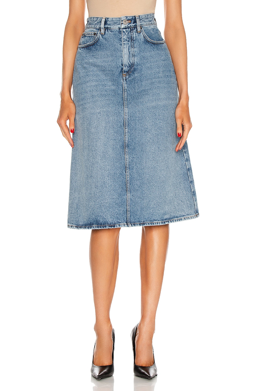 Image 1 of Balenciaga 5 Pocket Skirt in Stonewash Indigo