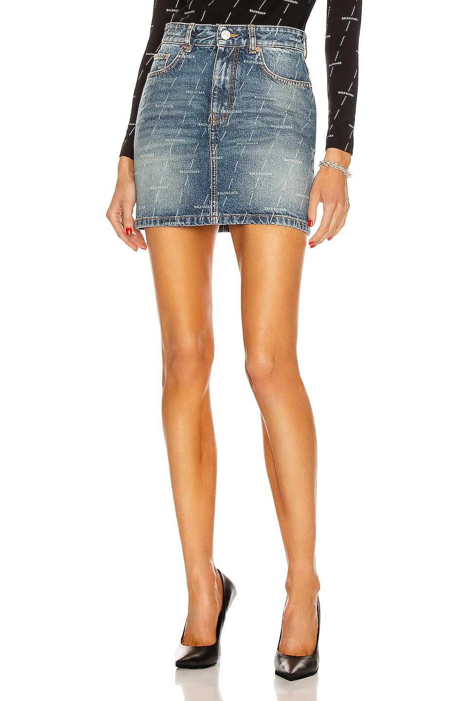 Image 1 of Balenciaga Mini 5 Pocket Skirt in Authentic Dark Blue