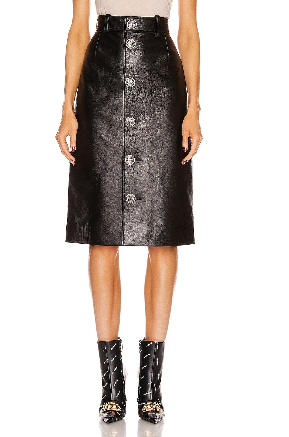 Image 1 of Balenciaga Buttoned Skirt in Black