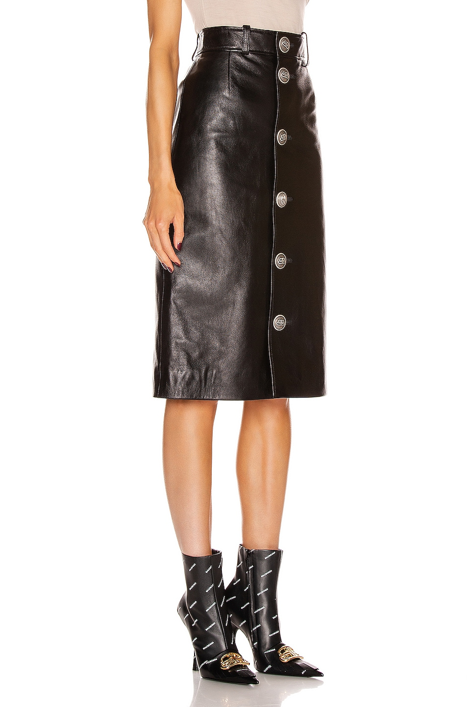 Image 2 of Balenciaga Buttoned Skirt in Black