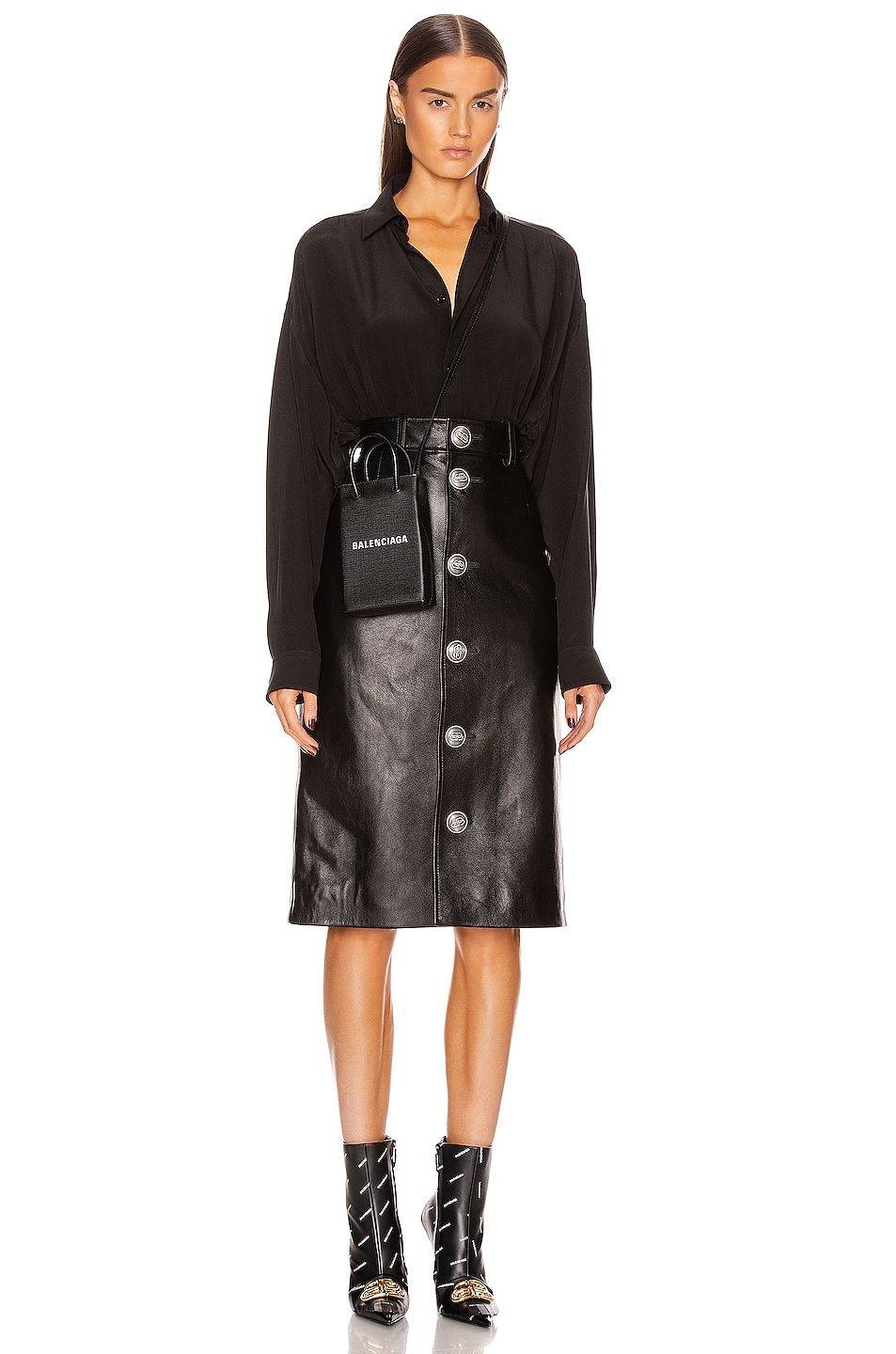 Image 4 of Balenciaga Buttoned Skirt in Black