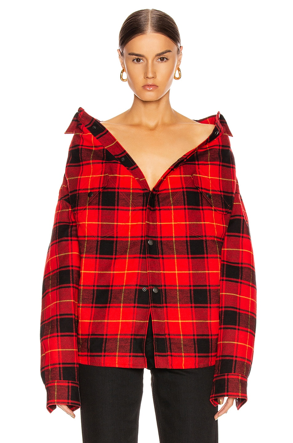 Image 1 of Balenciaga Swing Canadian Shirt in Red & Black