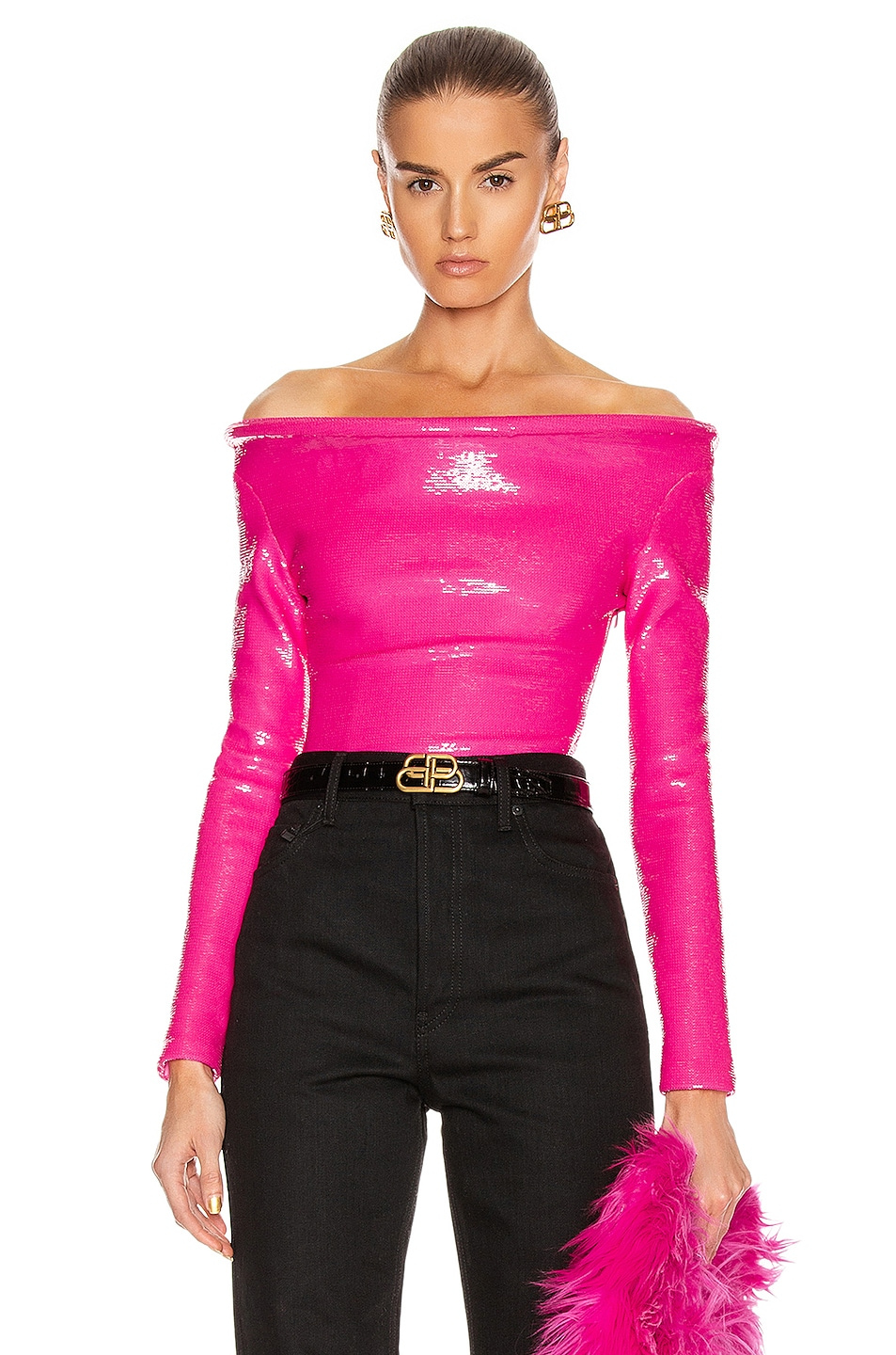 Image 1 of Balenciaga Sequin Ring Bodysuit Top in Fluo Pink