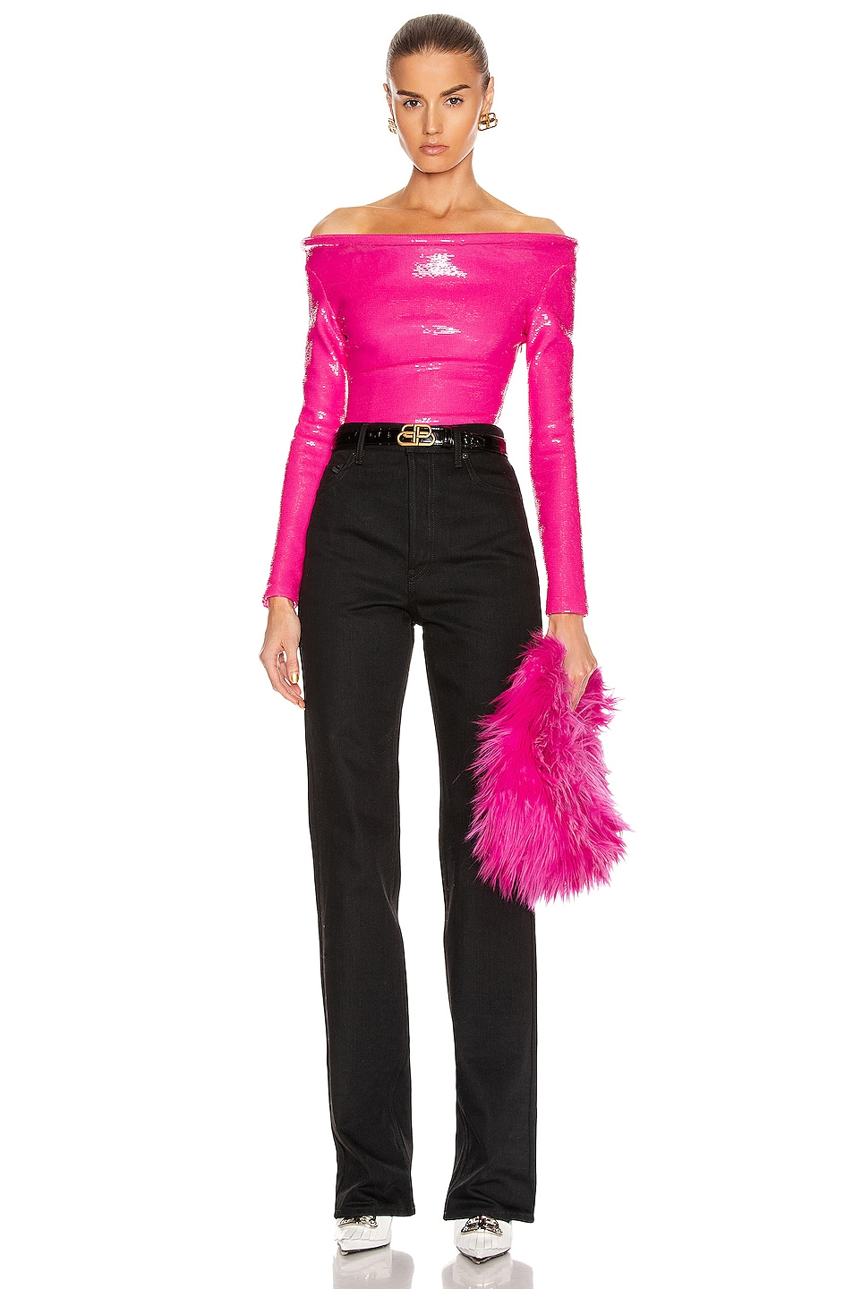 Image 5 of Balenciaga Sequin Ring Bodysuit Top in Fluo Pink