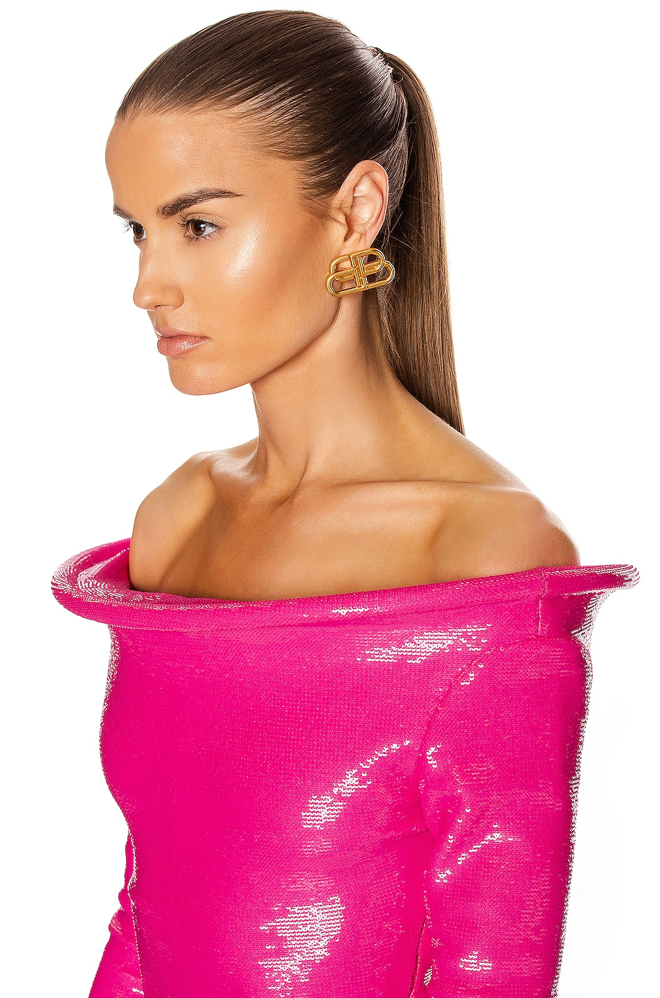 Image 6 of Balenciaga Sequin Ring Bodysuit Top in Fluo Pink