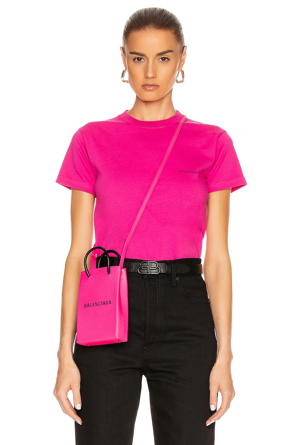 Image 1 of Balenciaga Copyright Fitted T Shirt in Pink