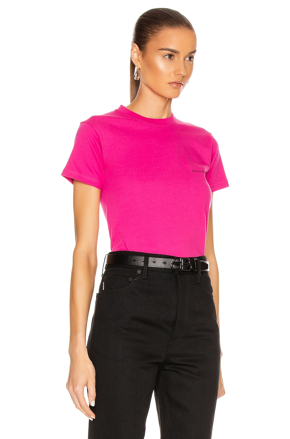 Image 2 of Balenciaga Copyright Fitted T Shirt in Pink