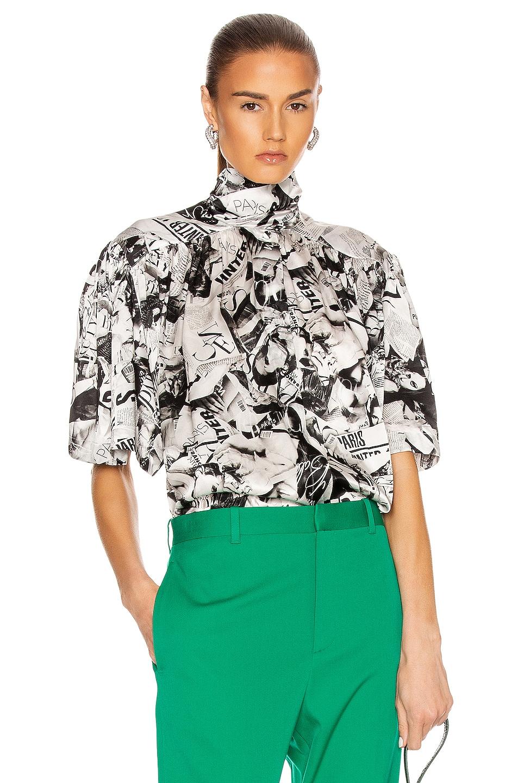 Image 1 of Balenciaga Short Sleeve Magazine Scarf Blouse in Black & White