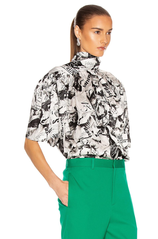 Image 2 of Balenciaga Short Sleeve Magazine Scarf Blouse in Black & White