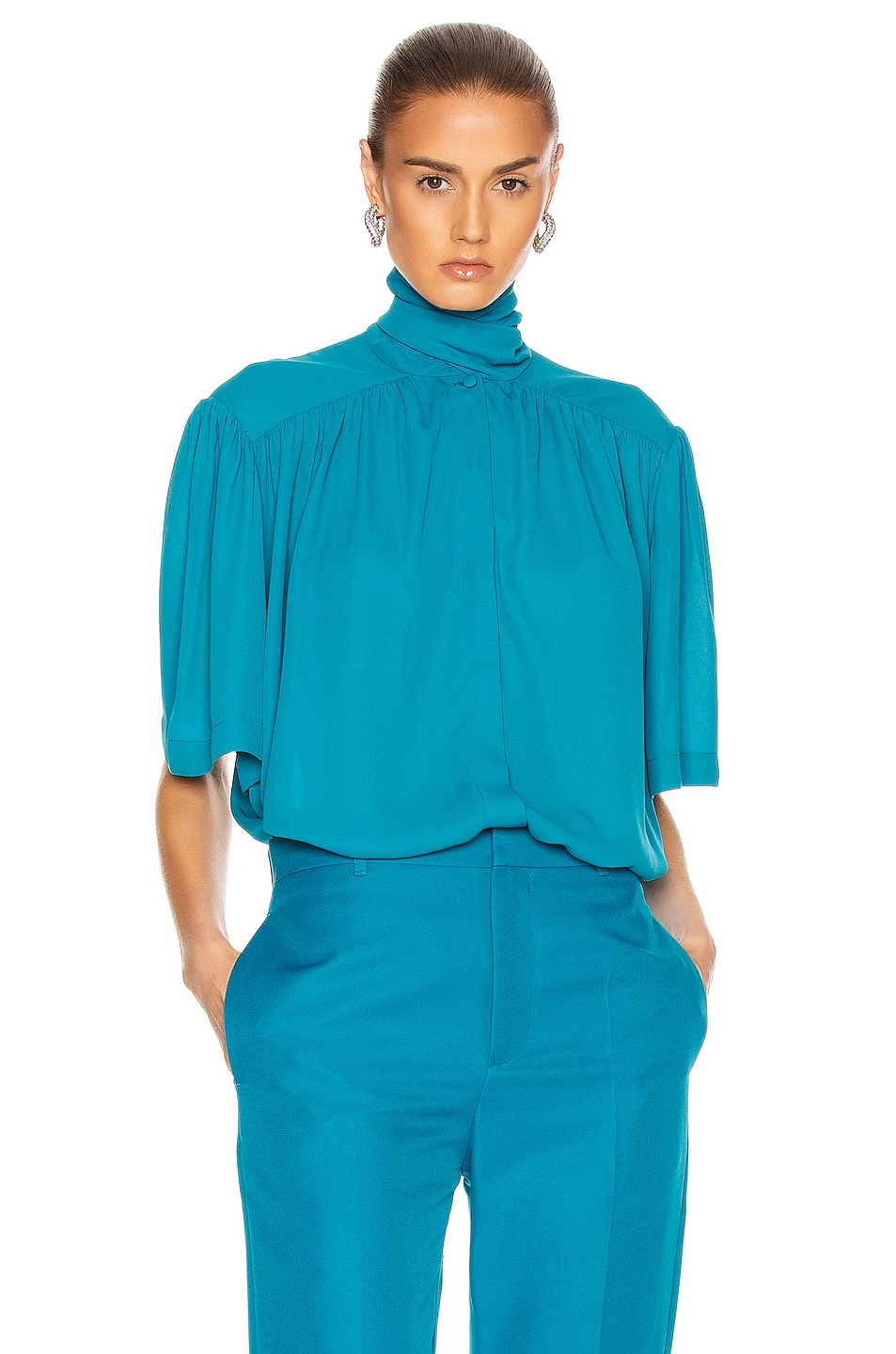 Image 1 of Balenciaga Short Sleeve Scarf Blouse in Petrol Blue
