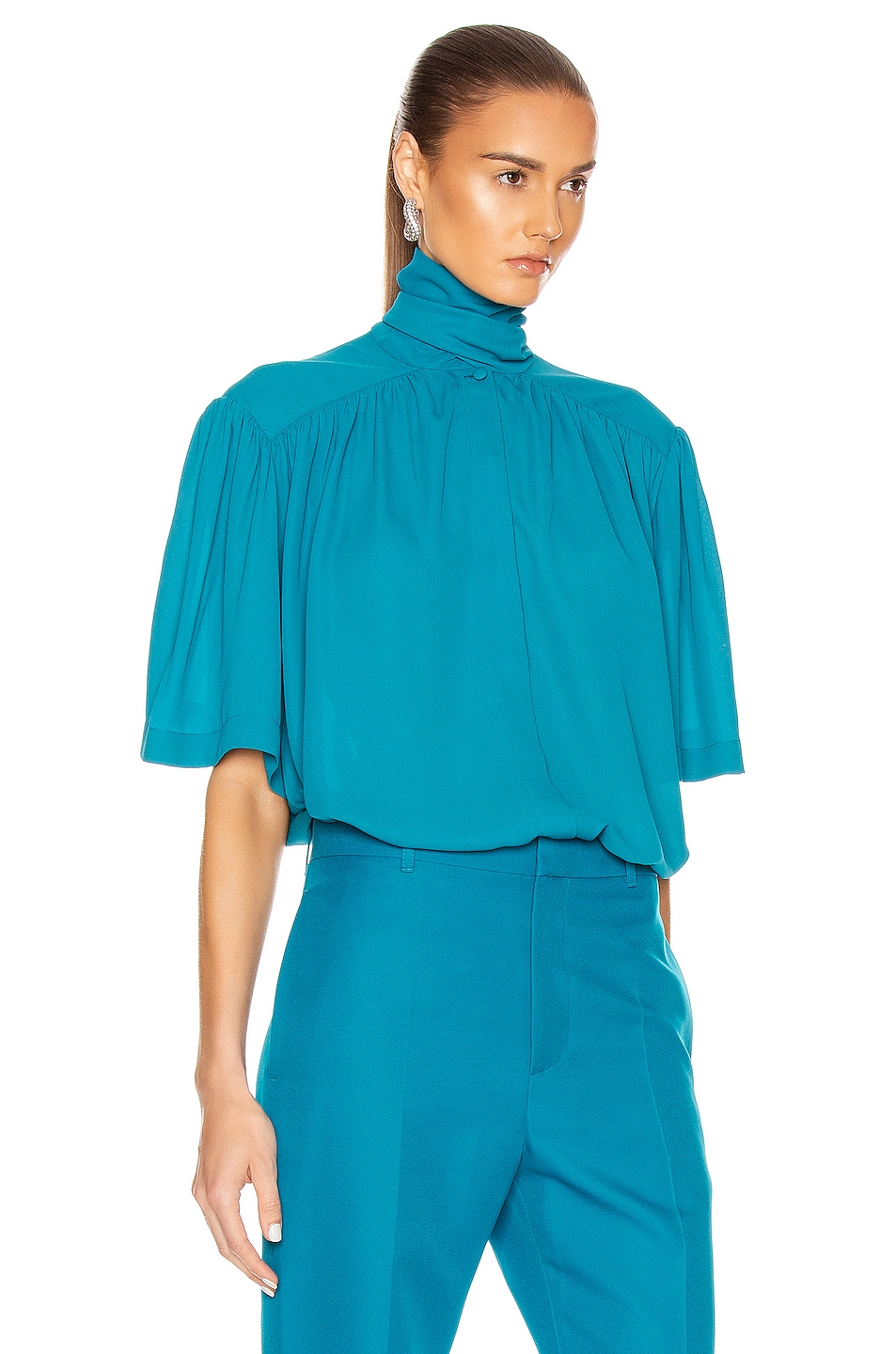 Image 2 of Balenciaga Short Sleeve Scarf Blouse in Petrol Blue