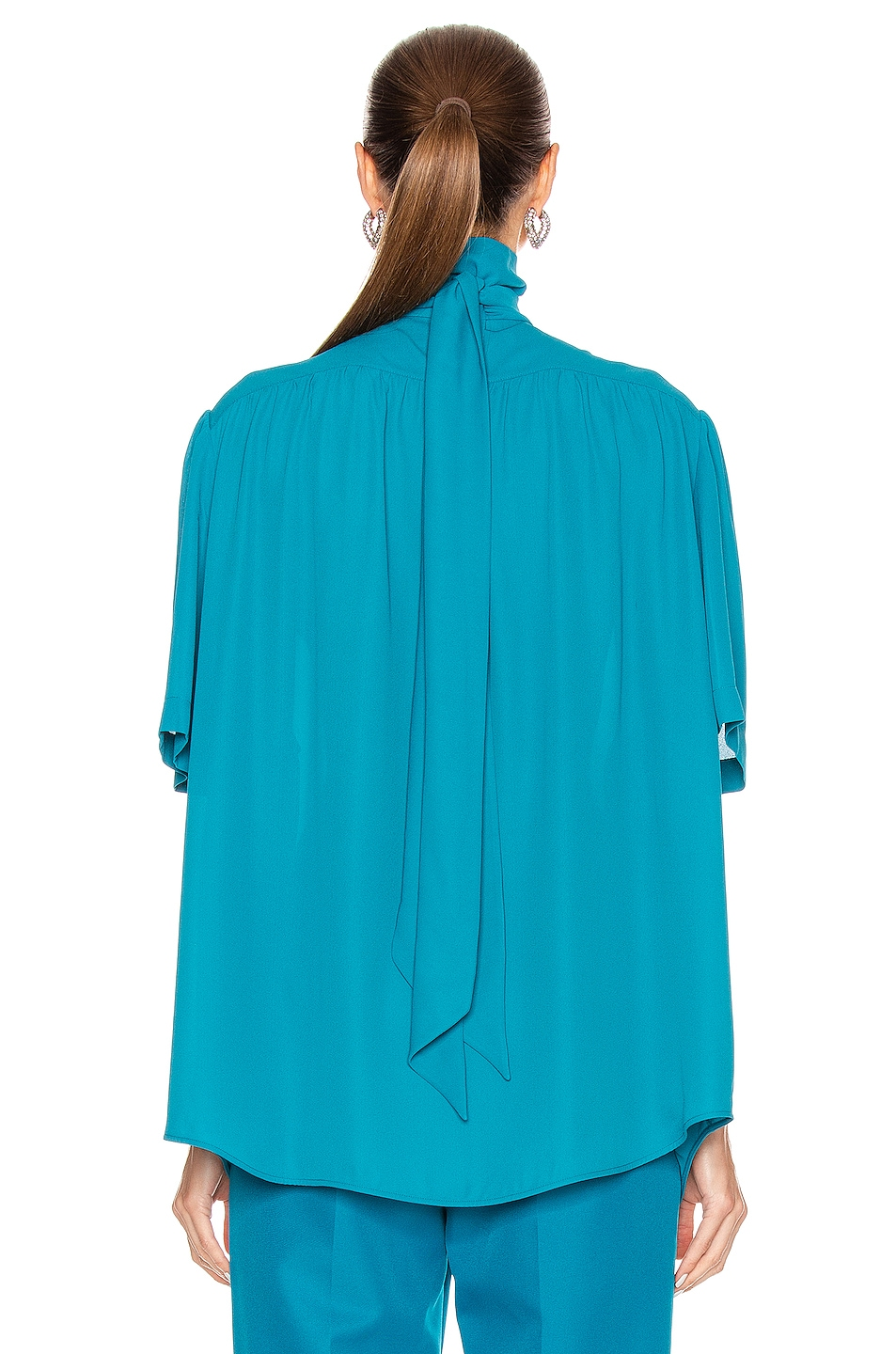 Image 3 of Balenciaga Short Sleeve Scarf Blouse in Petrol Blue