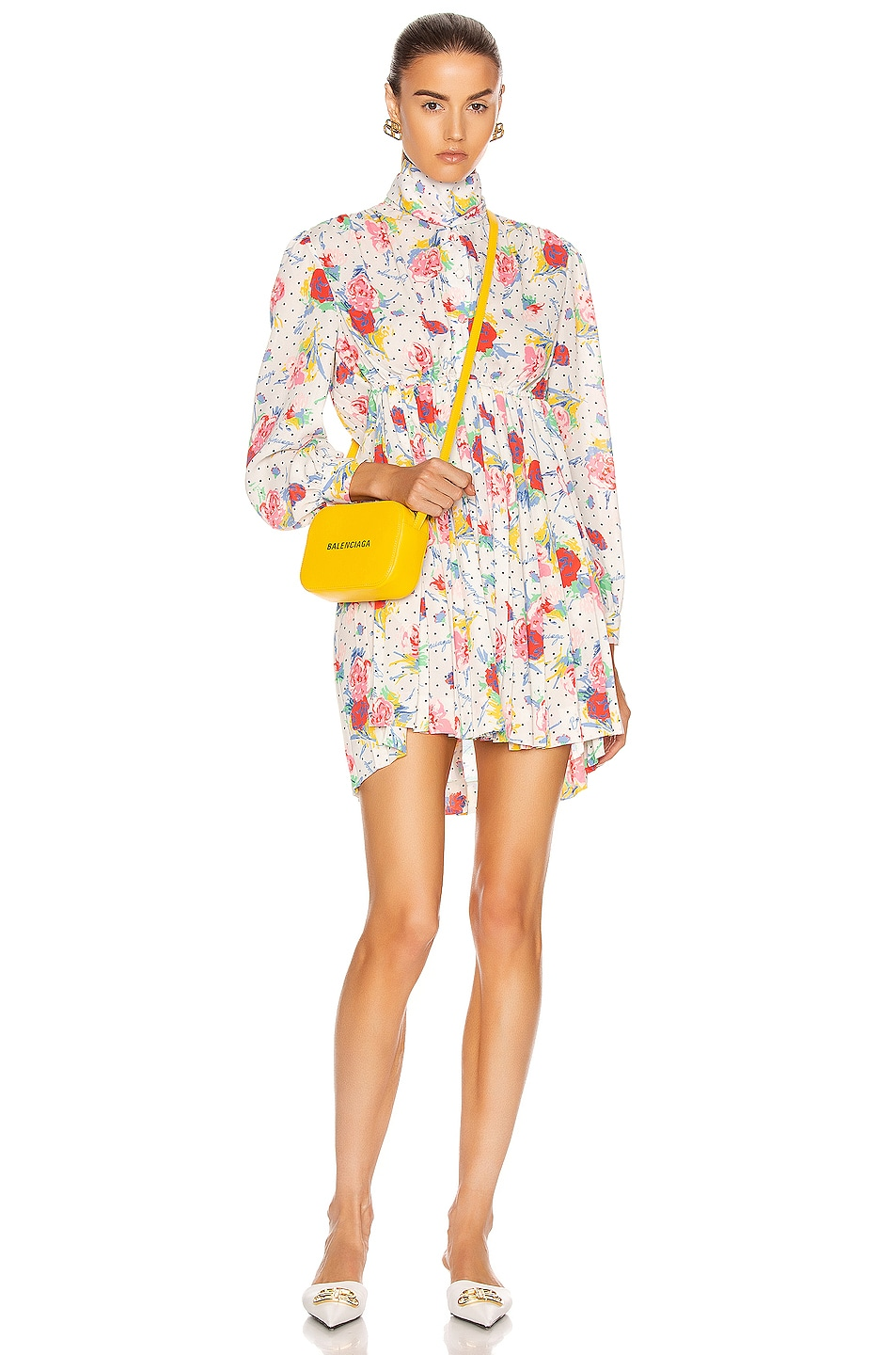 Image 1 of Balenciaga Polka Dot Floral Pleated Babydoll Top in Cream & Red