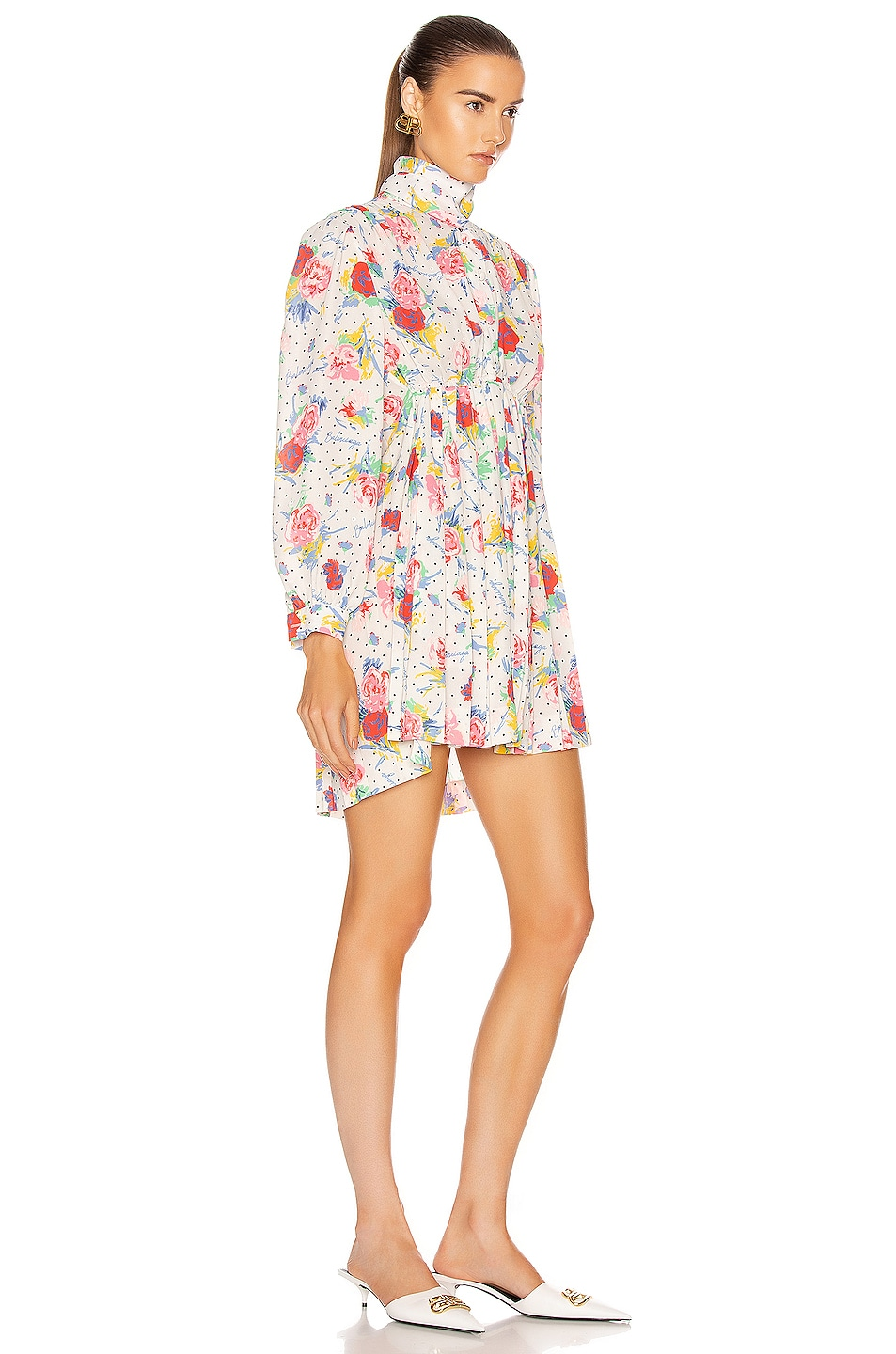Image 3 of Balenciaga Polka Dot Floral Pleated Babydoll Top in Cream & Red