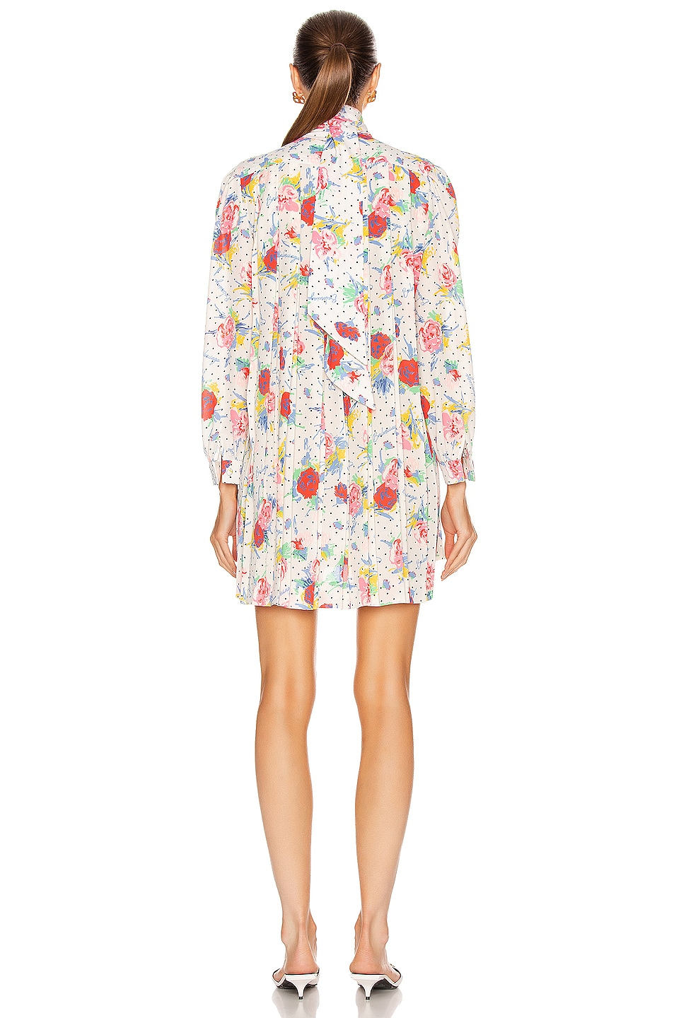 Image 4 of Balenciaga Polka Dot Floral Pleated Babydoll Top in Cream & Red