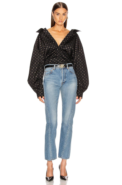 Image 4 of Balenciaga Open Back Shirt in Black & Gold
