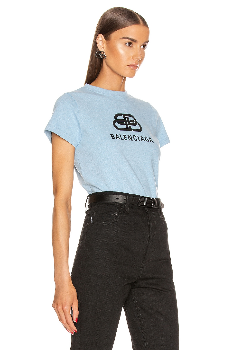 Image 2 of Balenciaga BB Fitted T Shirt in Baby Blue