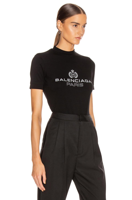 Image 2 of Balenciaga Paris Laurel Fitted T Shirt in Black