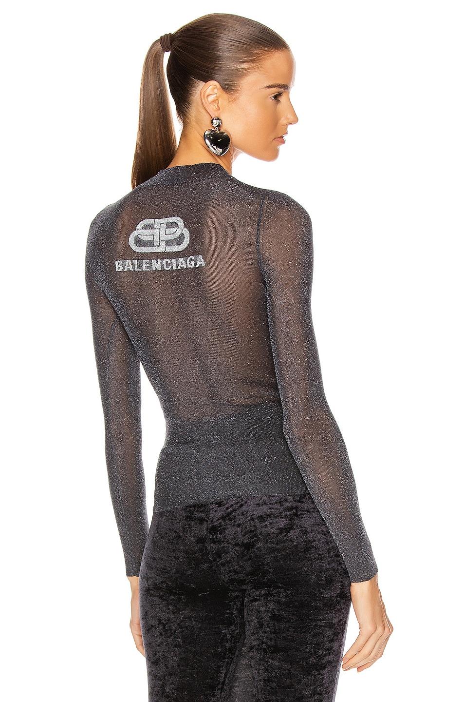 Image 1 of Balenciaga Long Sleeve High Neck Top in Black & Blue