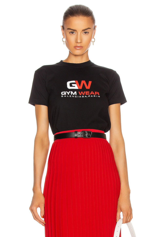 Image 1 of Balenciaga Small Fit Gymwear T Shirt in Black