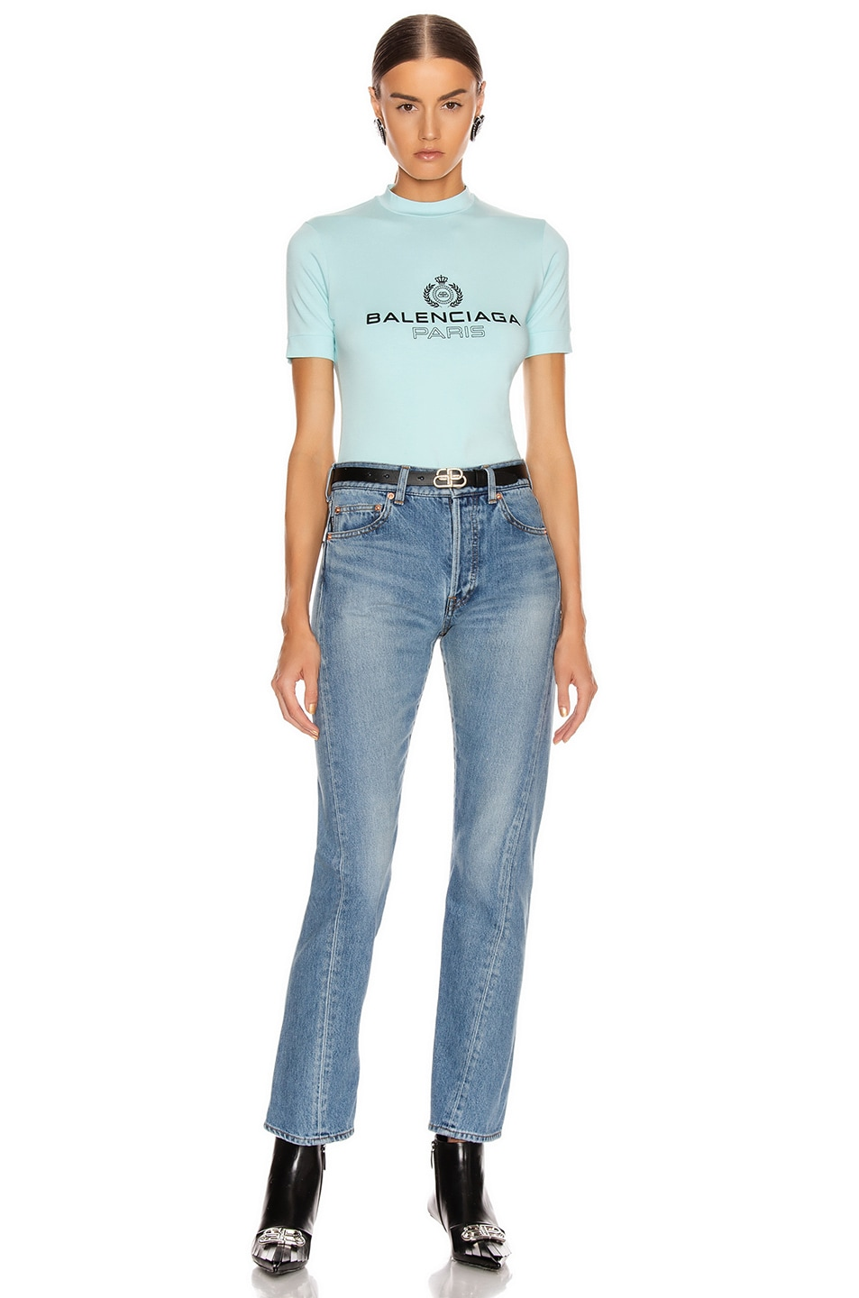 Image 4 of Balenciaga Paris Laurel Fitted T Shirt in Candy Blue