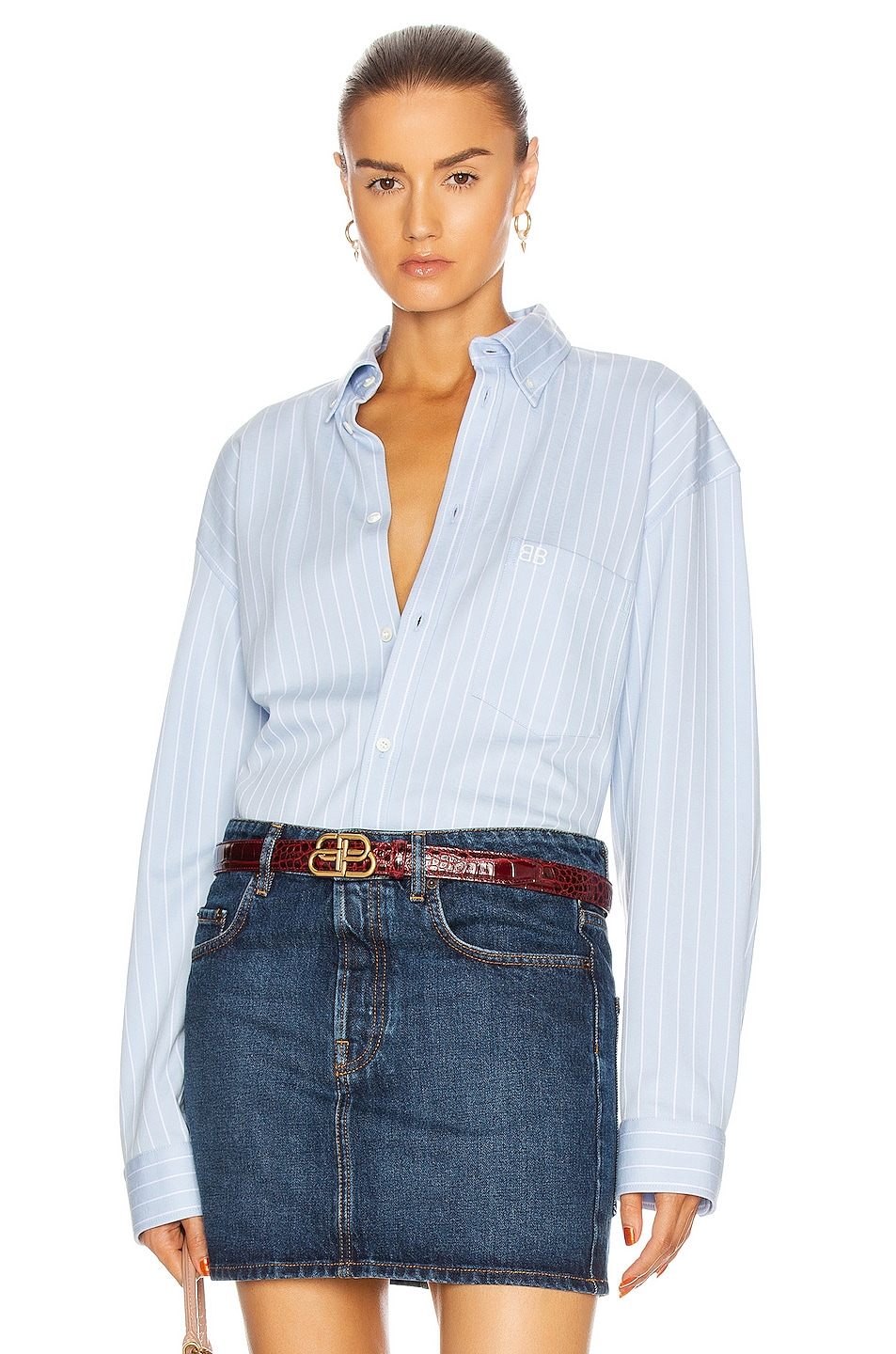 Image 1 of Balenciaga Long Sleeve Large Shirt in Sky Blue & White