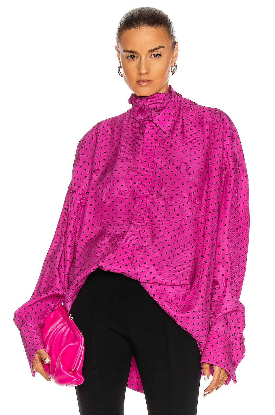 Image 1 of Balenciaga Fluid Scarf Tuxedo Top in Pink & Black