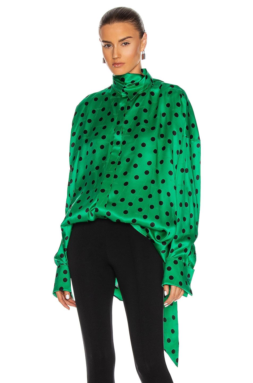Image 1 of Balenciaga Fluid Scarf Tuxedo Top in Green & Black