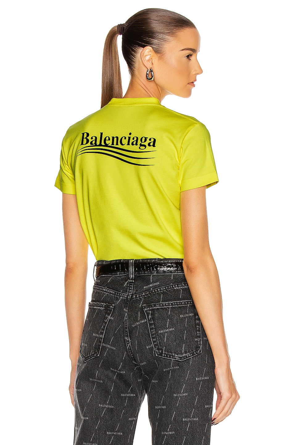 Image 1 of Balenciaga Political Small Fit T Shirt in Fluo Yellow & Black
